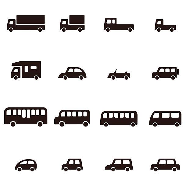 シンプルなさまざまなお車のアイコン - バス点のイラスト素材/クリップアート素材/マンガ素材/アイコン素材