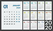 2020 simple vector 12 colorful months calendar, starts monday, two weekend, white background