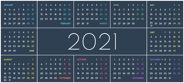 2021 simple vector 12 colorful months calendar, starts monday, two weekend, dark background