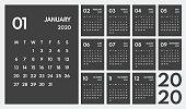 2020 simple vector 12 months calendar, starts monday, two weekend, dark background
