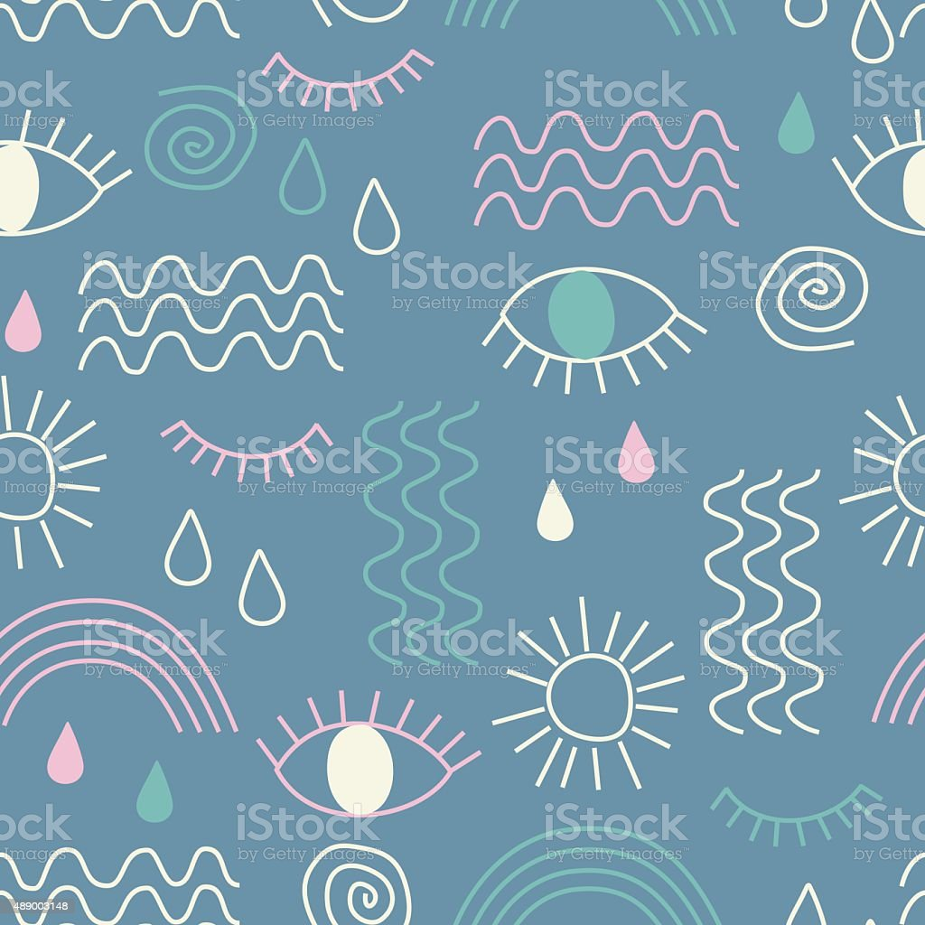 Simple vector abstract seamless pattern with eyes, waves, sun, drops. vector art illustration