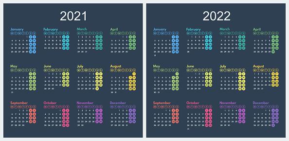 simple vector calendar 2021 2022, starts monday, two weekend, dark background