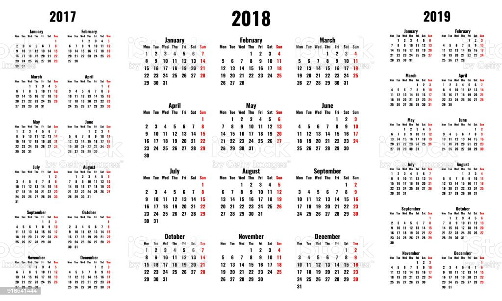 simple vector calendars for 2018 and 2017 2019 years monday first