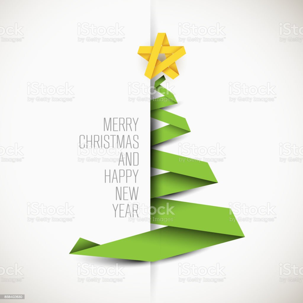 Simple vector card with christmas tree vector art illustration