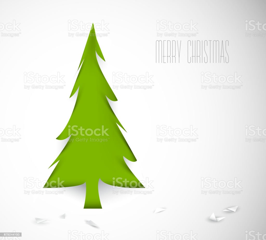 Simple vector christmas tree cut out from white paper vector art illustration