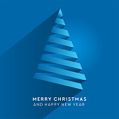 Simple vector christmas tree made from paper stripe - original new year card. Volume blue paper cut fir like arrow with shadow