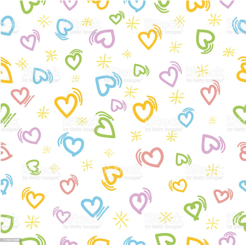 Vector Colorful Seamless Pattern love with motion effect and star for...