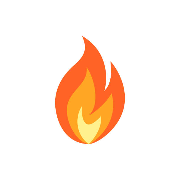 simple vector flame icon in flat style - fire stock illustrations
