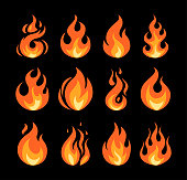 Set of vector flame icons on black background. Simple illustrations of fire in flat style