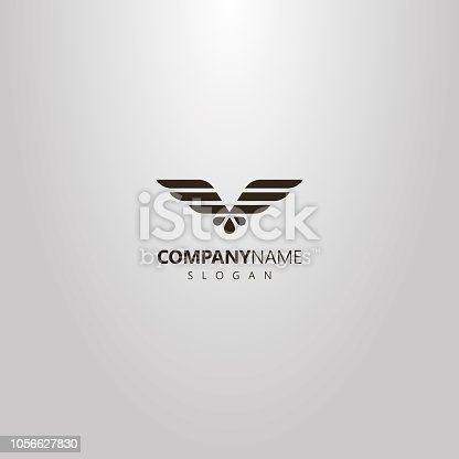istock simple vector flat art logo of abstract geometric eagle wings 1056627830