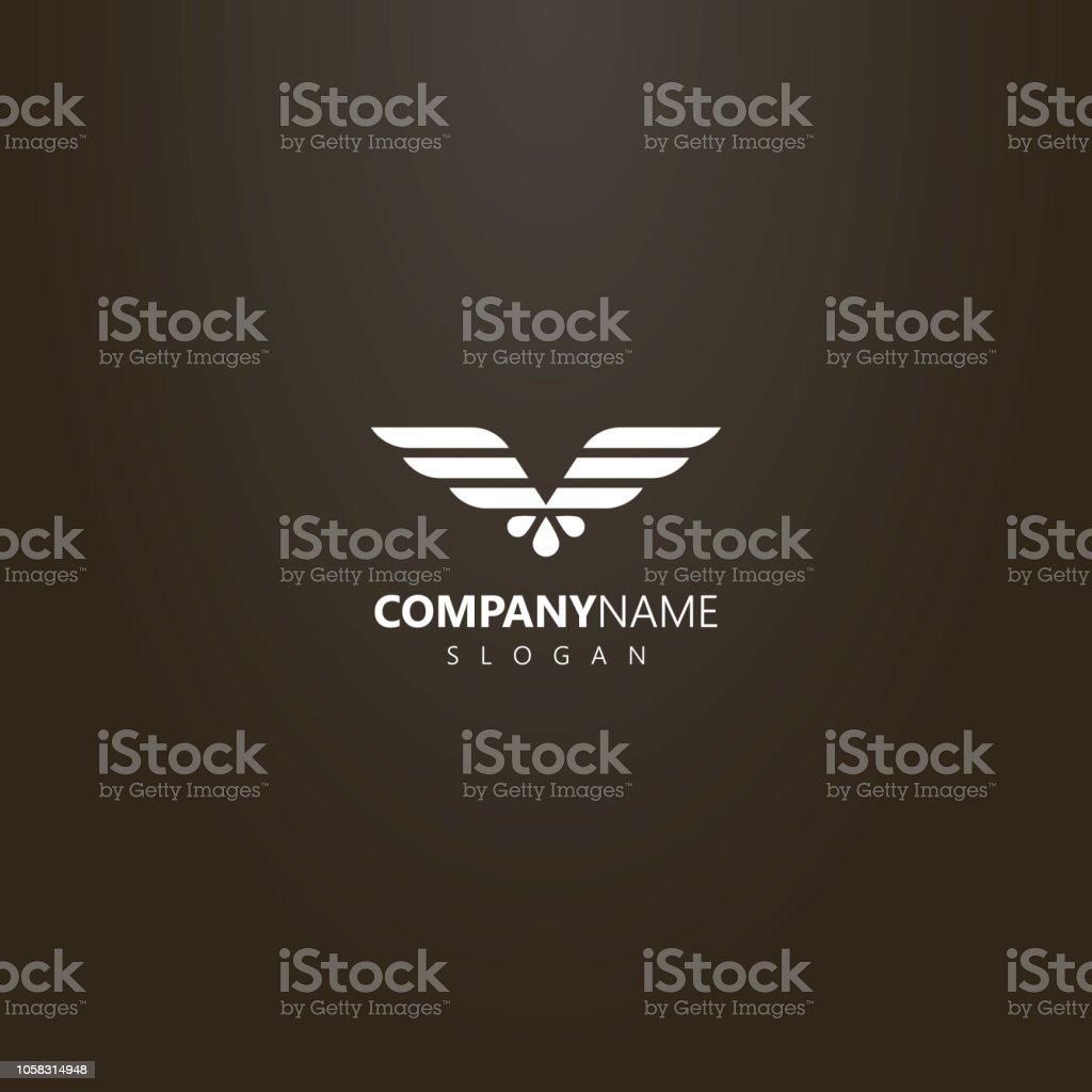 simple vector flat art logo of abstract geometric eagle wings vector art illustration