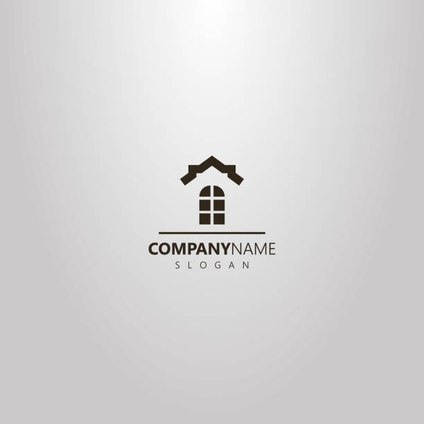 simple vector flat art logo of window and the roof of a house above it - real estate logos stock illustrations, clip art, cartoons, & icons