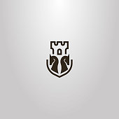 black and white simple vector flat art sign of two chess knights and castle tower behind them