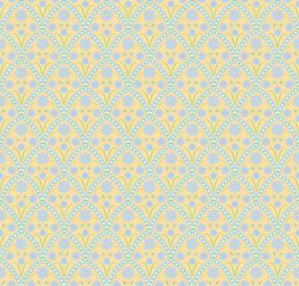 simple vector flowers. floral seamless pattern. repetitive background. fabric swatch. wrapping paper. continuous print. design element for textile, home decor, apparel, backdrop. blue and yellow illustration