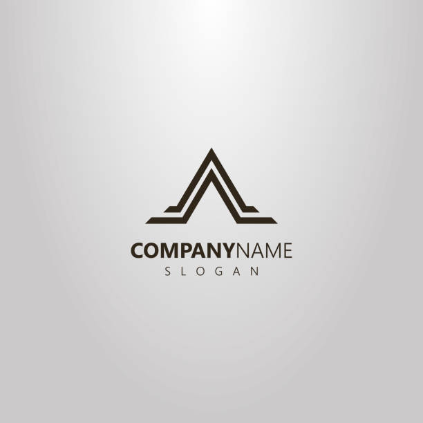 simple vector geometric flat art logo of abstract triangle mountain shape in two lines - szczyt górski stock illustrations