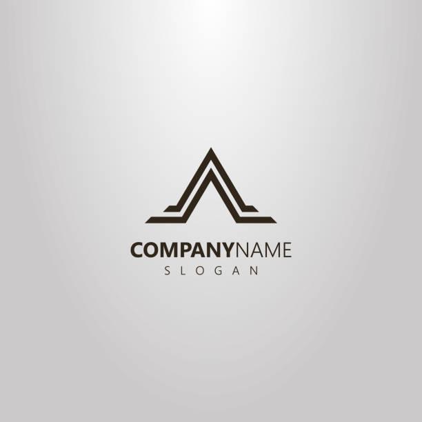ilustraciones, imágenes clip art, dibujos animados e iconos de stock de simple vector geométrico plano logotipo arte de forma de la montaña del triángulo abstracto en dos líneas - mountain top
