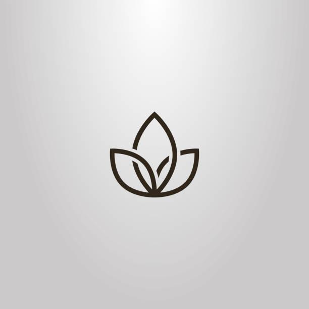 ilustrações, clipart, desenhos animados e ícones de sinal de vetor simples geométrica flor de três pétalas entrelaçadas - lotus