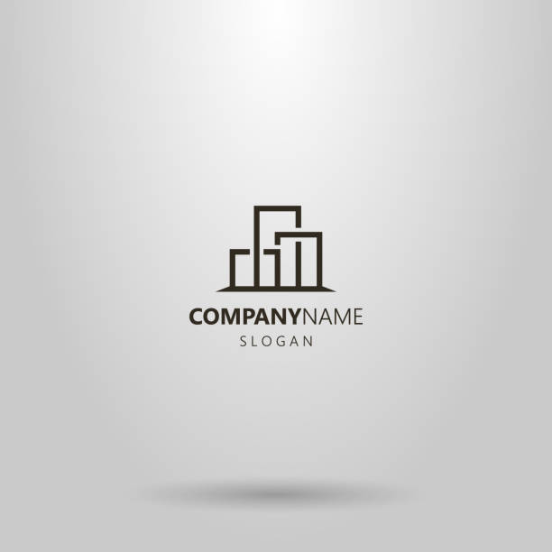 simple vector geometric line art logo of cityscape three buildings - real estate logos stock illustrations, clip art, cartoons, & icons