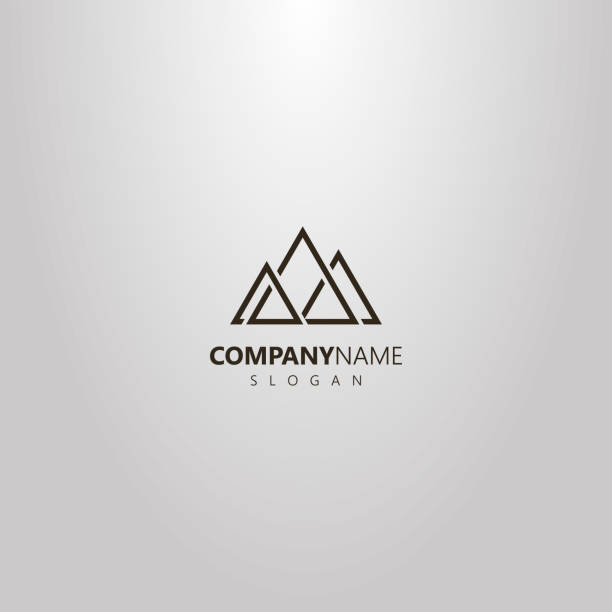 simple vector geometric logo of triangular abstract peaks of three mountains black and white simple vector geometric logo of triangular abstract peaks of three mountains mountain top stock illustrations