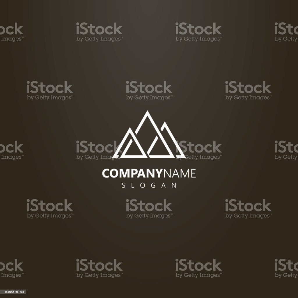 white logo on a black background. simple vector geometric logo of...