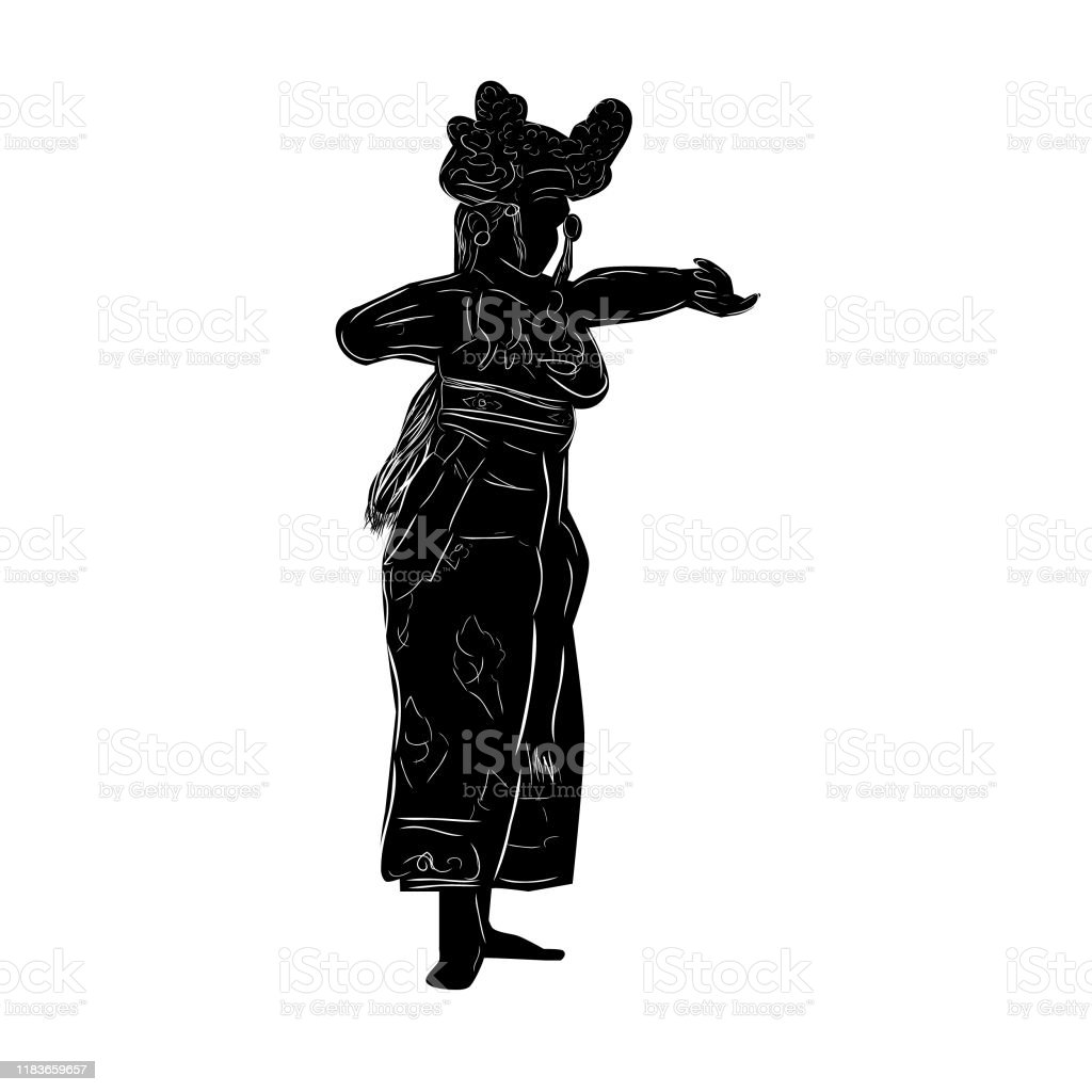 Simple Vector Hand Draw Sketch And Silhouette Of Young Girl Traditional Bali Indonesia Dancer Stock Illustration Download Image Now Istock