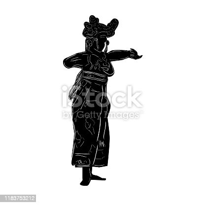 Simple Vector Hand Draw Sketch and Silhouette of Young Girl Traditional Bali Indonesia Dancer