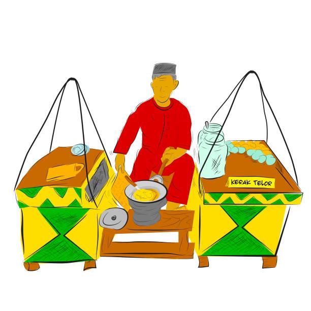 간단한 벡터 손 그리기 스케치 케락 텔루르 또는 텔러 메이커 및 판매자, 인도네시아 전통 음식, 코코넛, 끈적 끈적한 쌀, 닭고기 또는 오리 계란으로 만든 오믈렛 접시 - 자카르타 stock illustrations