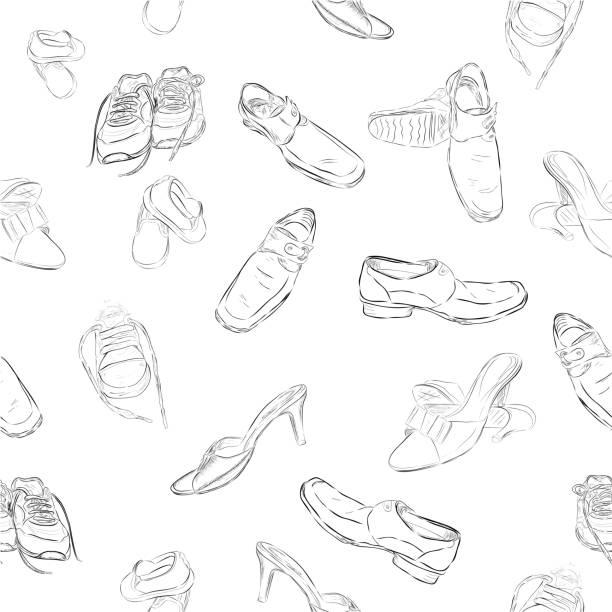 einfache vektor zeichnen handskizze muster nahtlose hintergrund mann, frau und kinder schuhe - eleganter schuh stock-grafiken, -clipart, -cartoons und -symbole