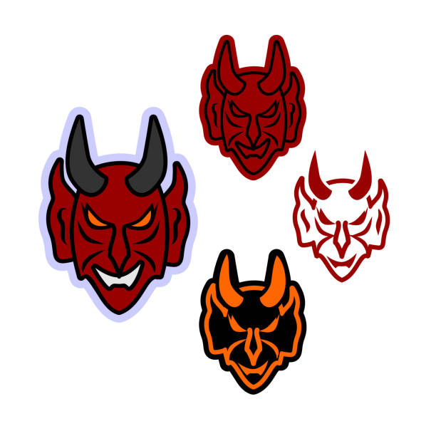 Simple vector icon for the face of the devil vector art illustration