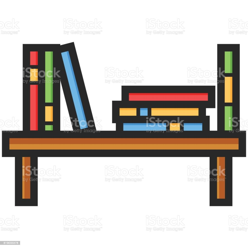 Simple Vector Icon Of A Bookshelf In Flat Style Pixel Perfect Basic Education Element