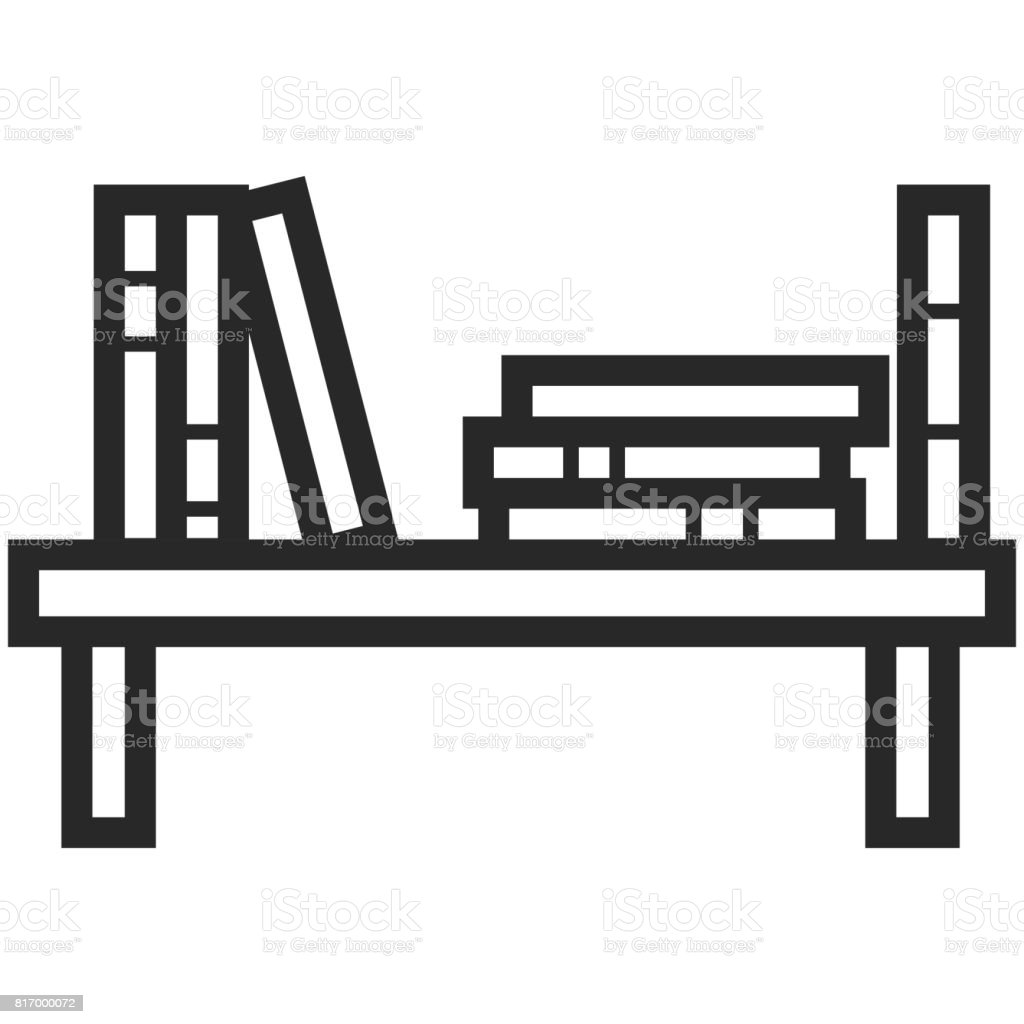 Simple Vector Icon Of A Bookshelf In Line Art Style Pixel Perfect Basic Education