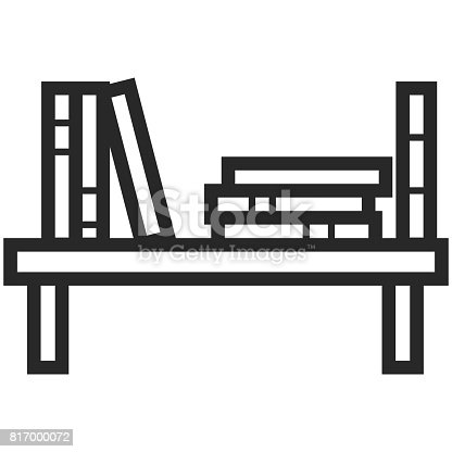 Simple Vector Icon Of A Bookshelf In Line Art Style Pixel Perfect Basic Education Element School And Office Tool Back To College Stock 817000072