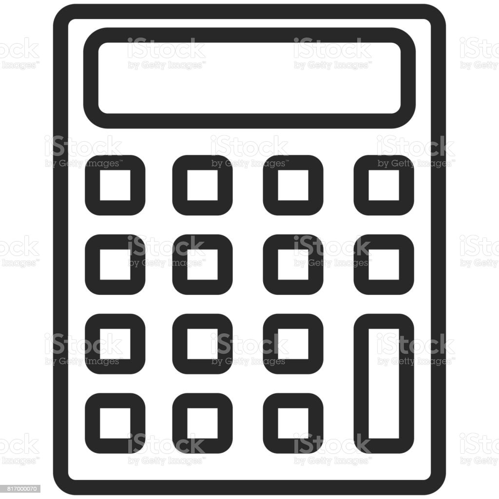simple vector icon of a classic calculator in line art style pixel