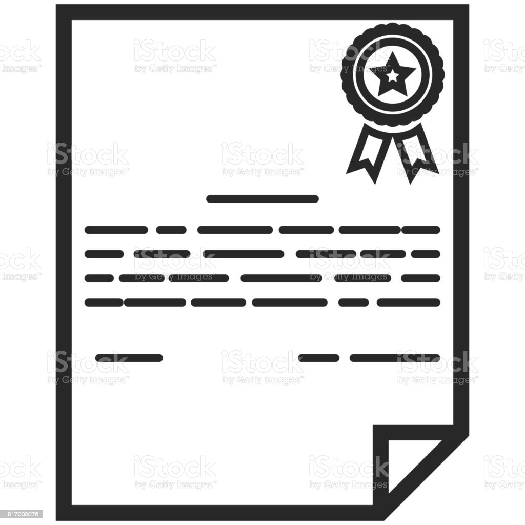 Simple Vector Icon of a classic certificate in line art style. Pixel perfect. Basic education element. School and office tool. Back to college. vector art illustration