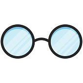 Simple Vector Icon of a classic glasses in flat style. Pixel perfect. Basic education element. School and office tool. Back to college.