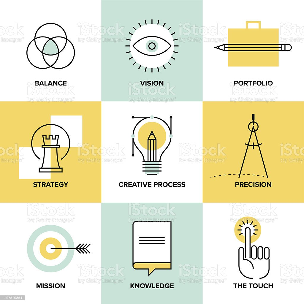 Simple vector icon set of the creative process royalty-free simple vector icon set of the creative process stock vector art & more images of abstract