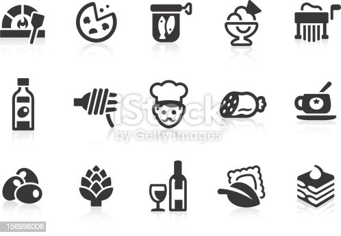 Simple Italian cuisine related vector icons for your design and application. Files included: vector EPS, JPG, PNG.