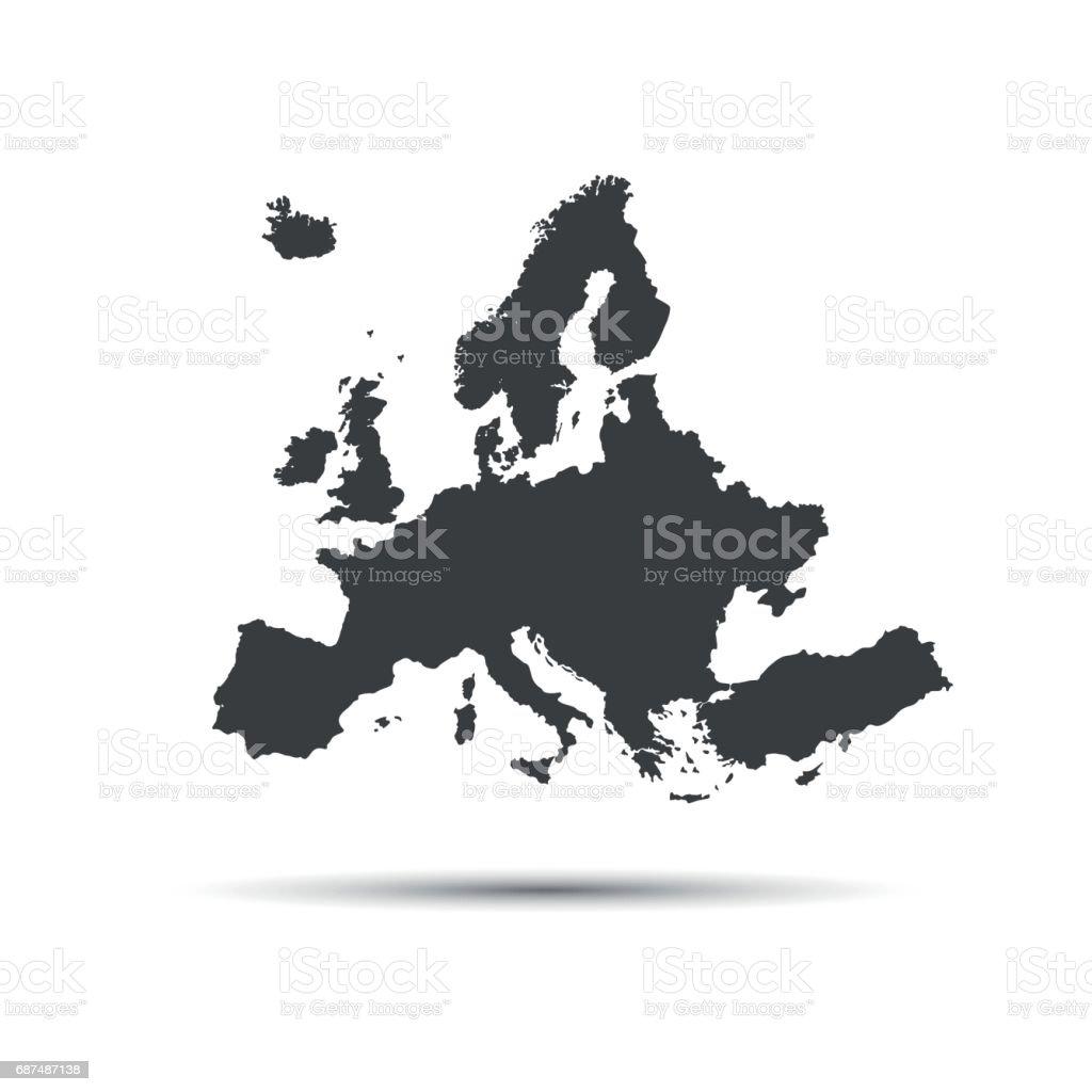 Simple vector illustration map of European Union vector art illustration