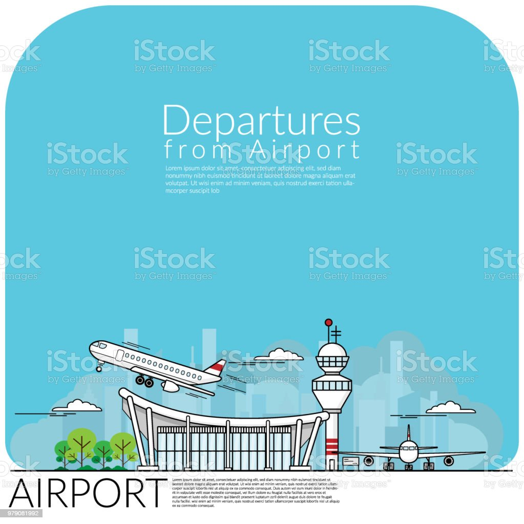 simple vector illustration of airplane take off for departures from airport terminal and airplane parking at airfield. travel concept, flat design EPS10 vector illustration. vector art illustration