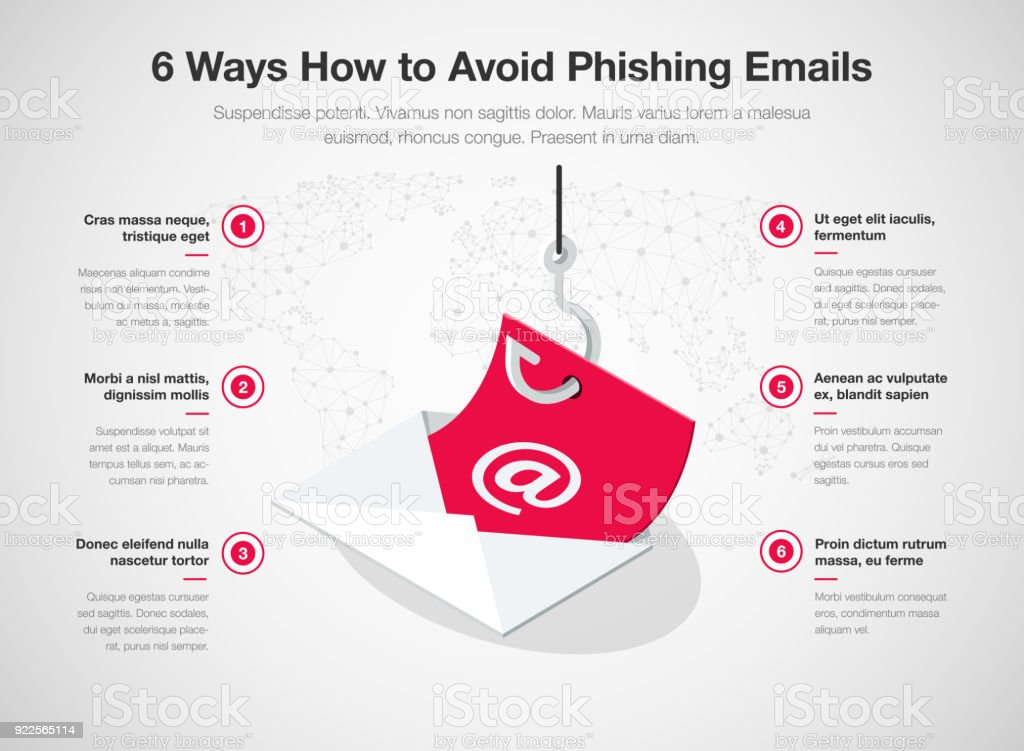 Simple Vector infographic for 6 ways how to avoid phishing emails template - arte vettoriale royalty-free di Busta