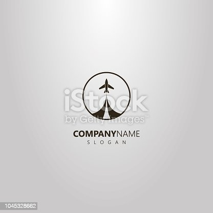 black and white simple vector isolated logo of take-off airplane in a round frame