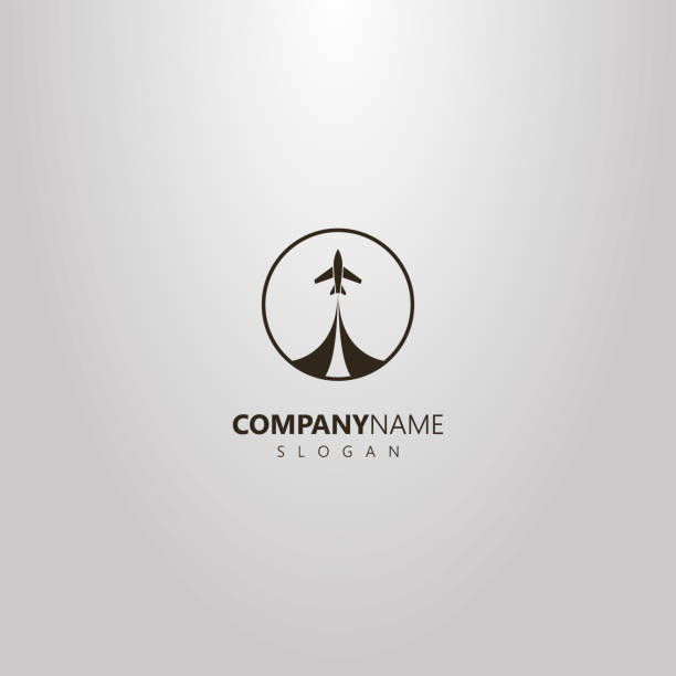 simple vector isolated logo of take-off airplane in a round frame black and white simple vector isolated logo of take-off airplane in a round frame aircraft wing stock illustrations