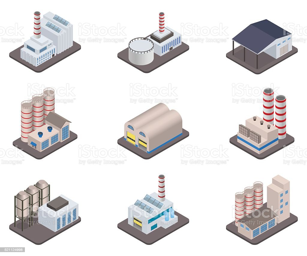 Simple vector isometric factory plants and factories icon set vector art illustration
