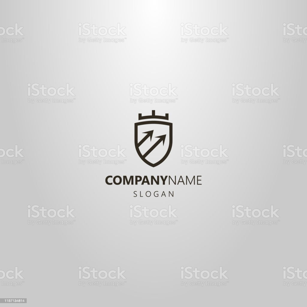 black and white simple vector line art geometric logo of shield with...