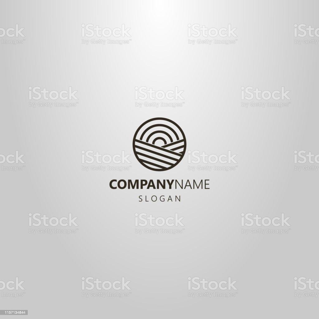 black and white simple vector line art geometric logo of sun rising...