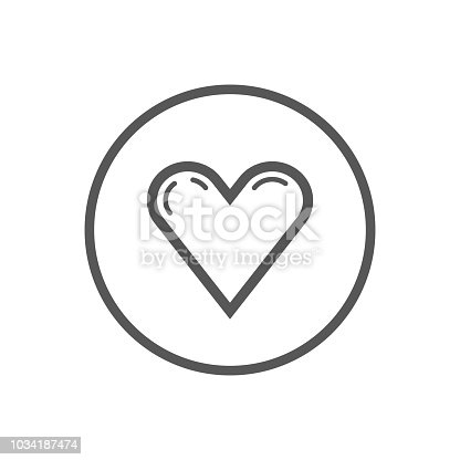 Black and white simple vector line art icon of heart in a round frame