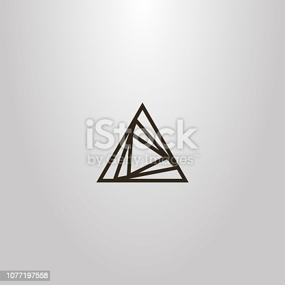 black and white simple vector line art outline sign of different size overlaid triangles