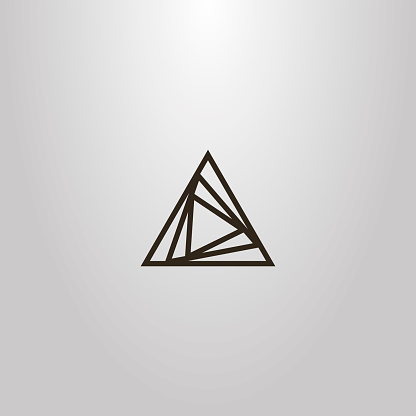 simple vector line art outline sign of different size overlaid triangles