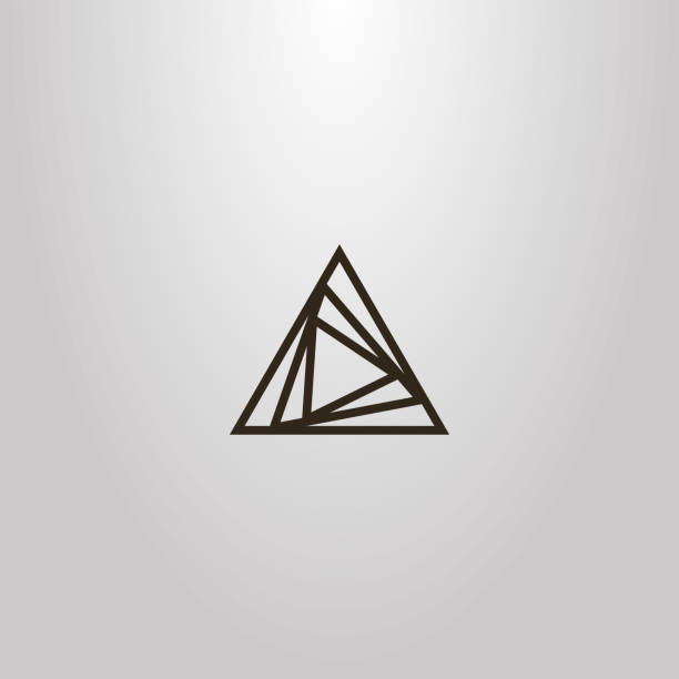 simple vector line art outline sign of different size overlaid triangles black and white simple vector line art outline sign of different size overlaid triangles triangle shape stock illustrations