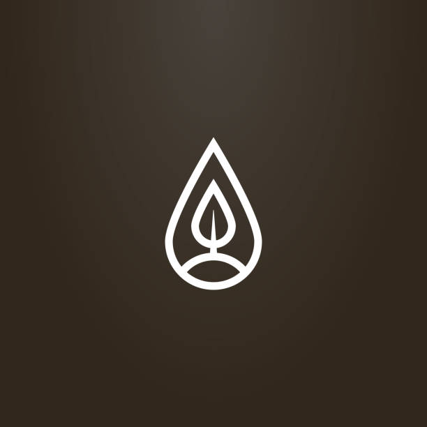 simple vector line art sign of a tree or leaf in a teardrop-shaped frame white sign on a black background. simple vector line art sign of a tree or leaf in a teardrop-shaped frame teardrop stock illustrations